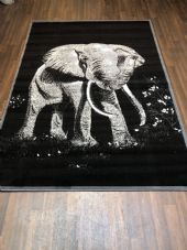 NEW RUGS Approx 6x4FT 120x170cm STUNNING Black/Grey Top Quality Elephants